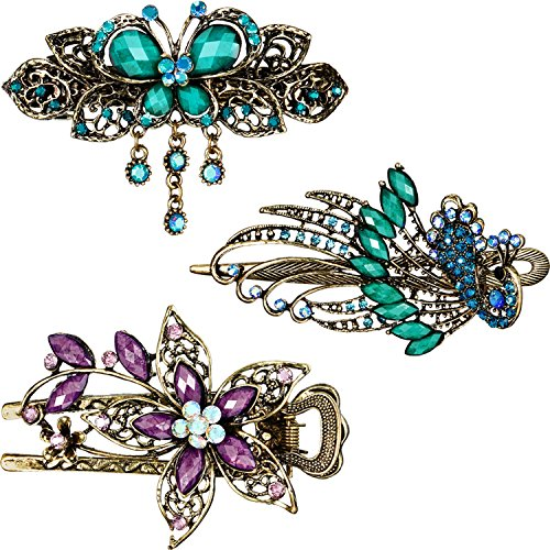 3 Pieces Women Hair Clips Hairpins Retro Vintage Metal French Barrette...