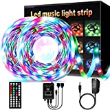 LED Strip Lights,YLCVBUD 32.8ft 3528 SMD RGB Rope Lights Music Sync Color Changing, Rope Light 600 SMD, IR Remote Controller Flexible Strip No White for Home Party Bedroom Party Indoor