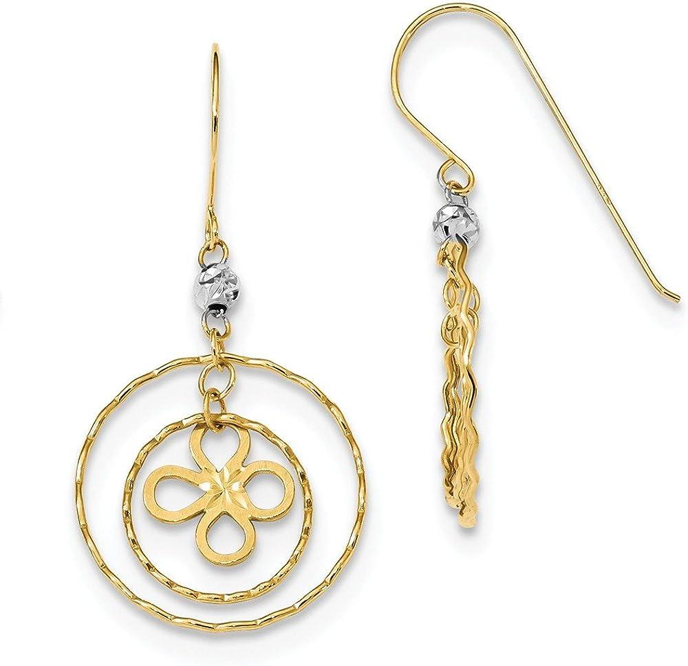 14k Two Tone Yellow Gold Flower In Circles Drop Dangle Chandelier Shepherd Hook Earrings Gardening Fine Jewelry For Women Gifts For Her