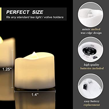 Homemory Battery Tea Lights with Timer, 6 Hours on and 18 Hours Off in 24 Hours Cycle Automatically, Pack of 12 Timing LED Ca