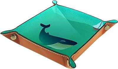 バレットトレイデスクオーガナイザー収納ボックスレザークジラ海洋船キャッチオールトレイ家庭用