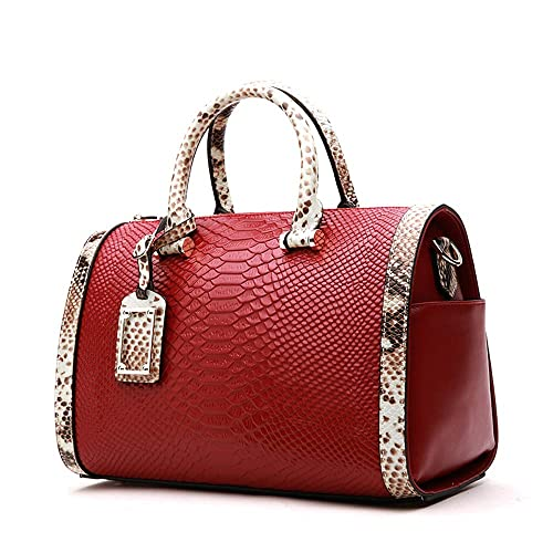 128ba5d5ece6 Mn&Sue Women Satchel Crocodile Cobra Pattern Top Handle Purse Cross Body  Boston Doctor Handbag