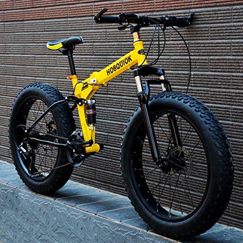 AISHFP Fat Tire Mens Mountain Bike, Doppio Freno a Disco in Acciaio /-Alto tenore di Carbonio Telaio Cruiser Bikes, 7 velocità Beach motoslitta Biciclette, Alluminio Lega,Giallo,26 Inches