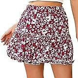 minjiSF Minifalda para mujer, informal, con estampado de flores, cintura alta, volantes, estilo Holi...