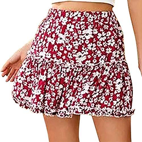 minjiSF Minifalda para mujer, informal, con estampado de flores, cintura alta, volantes, estilo Holiday rojo XL