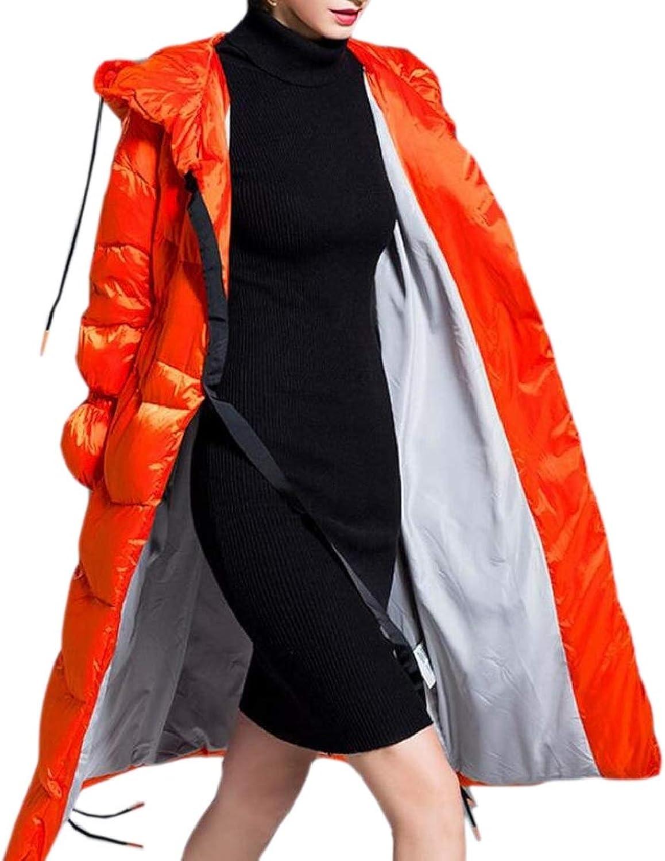 QDCACA Womens Winter Hooded Zipper Front Puffer Thicken Down Jacket Coat