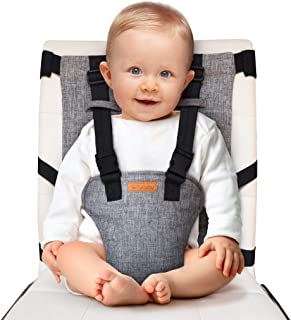 liuliuby On-The-Go Harness Seat - Padded Portable High Chair with Safety Harness, Travel Booster Seat for Babies and Toddlers - Compact and Washable - 2019 New Launch