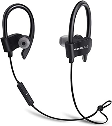 FREESOLO COOLBEATS Wireless Bluetooth Headphones with Mic, Latest V 5.0, Noise Cancellation Sweat-Proof Bluetooth Earphones with Balanced Bass Stereo Effect for Music and Call, Sports Earbuds (Black)