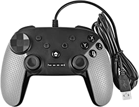 Powtree USB Wired Pro Controller for Nintendo Switch Gyro Axis Motion Controls Vibration Sense Gamepad Compatible with PlayStation 3 Windows PC Android Game Controllers (Light Grey)