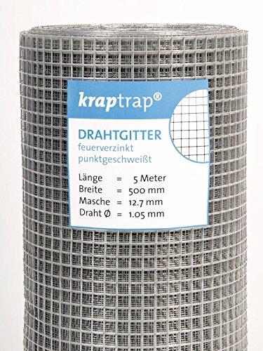 kraptrap® Volierendraht Käfigdraht Drahtgitter 12x12mm (0,5m x 5m)