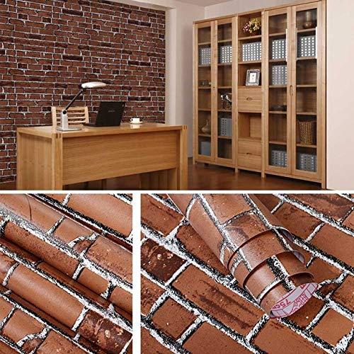 WHLJKN Hintergrund,PVC Selbstklebende Backstein-Wandtapete wasserdichte Wandaufkleber für Wohnzimmer Schlafzimmer Studie, Kaffee-Backstein, 45 cm x 10 m