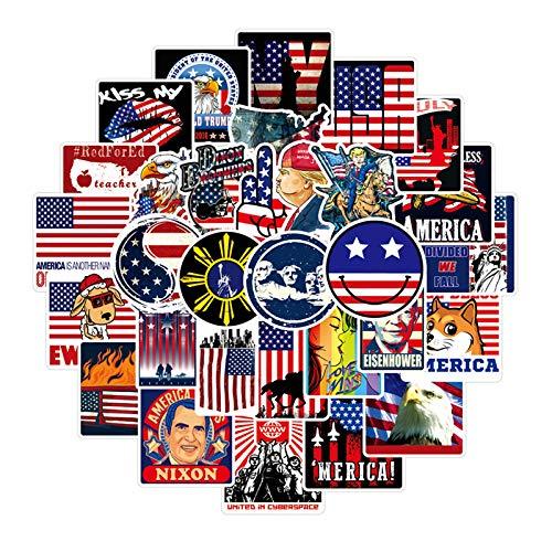 ZXIAQI 100pcs Waterproof Vinyl Decal Stickers Pack for Laptop Skateboard Water Bottles Car Teens Stickers, American Flag Style