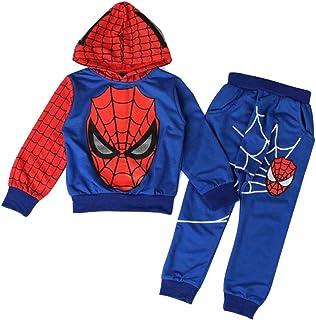 AEIL Boys Casual Chándal Sudaderas con Capucha Niños Traje de 2 Piezas Spiderman Cosplay Set Traje de Manga Larga Traje De...