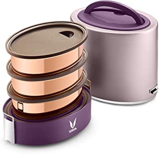 Vaya Tyffyn Purple Copper-Finished Stainless Steel Lunch Box Without Bagmat, 1000 ml, 3 Containers, Purple