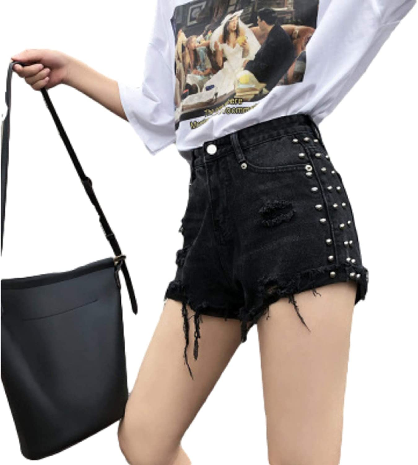 Cheap bargain Women's Casual Fashion Loose Wide-Leg Popular brand in the world Ed Shorts Raw Ripped Holes