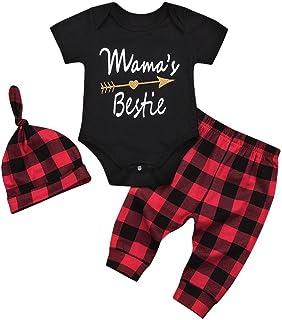 Baby Clothes Girls Boy Cute Cotton Romper Plaid Pants Hats Outfits Set
