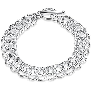 925 Sterling Silver Polished /& Antiqued Link Bracelet 9