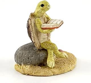 Top Collection Miniature Fairy Garden & Terrarium Turtle Reading on Stone Statue, Small