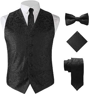 Calvertt Men's 4-Piece Paisley Vest Slim Fit for Suit Tuxedo and Formal Attire