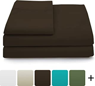 Cosy House Collection Luxury Bamboo Bed Sheet Set - Hypoallergenic Bedding Blend from Natural Bamboo Fiber - Resists Wrinkles - 4 Piece - 1 Fitted Sheet, 1 Flat, 2 Pillowcases - Queen, Chocolate