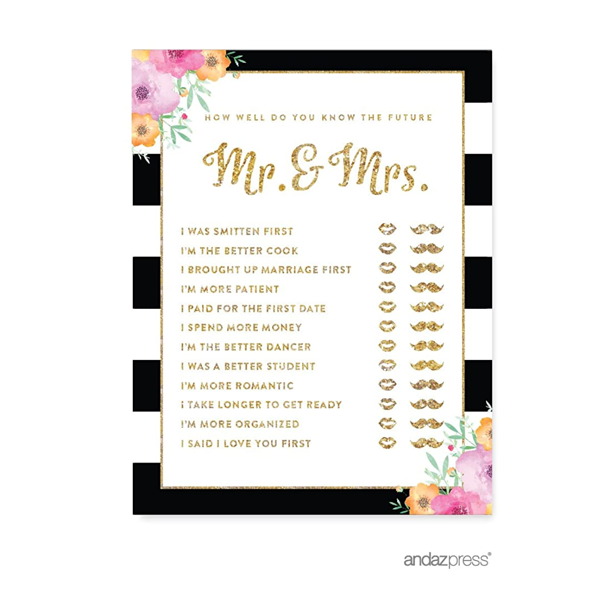 Andaz Press Floral Gold Glitter Print Wedding Collection, How Well Do You Know the Future Mr. & Mrs. He Said She Said Game Cards, 20-Pack