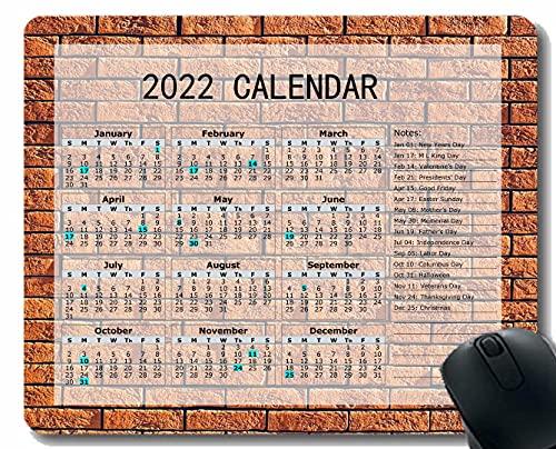2022 Calendario Mouse Pad, Textura de la Pared Ladrillos Light Gaming Mouse Pad