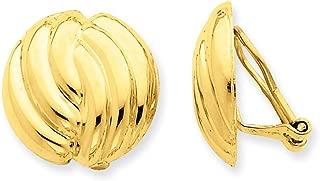 Pendientes de oro amarillo de 14 quilates con cierre omega pulido, no perforados