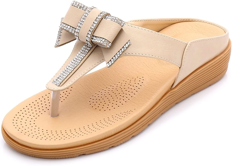 GIY Women's Glitter Rhinestone Beach Thong Sandals with Bow Comfort Bohemian Platform Wedge Flip Flops