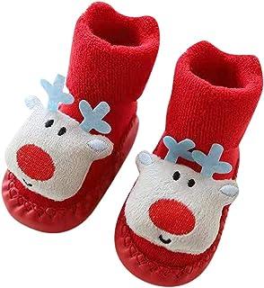 Fossen Bebe Ropa, Fossen Disfraz Navidad Bebe Niña Niño Calcetines de Piso Antideslizante - Patrón de Papa Noel Arbol de Navidad Reno