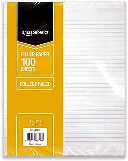 AmazonBasics College Ruled Loose Leaf Filler Paper, 100 Sheet, 11 x 8.5 Inch, 6-Pack