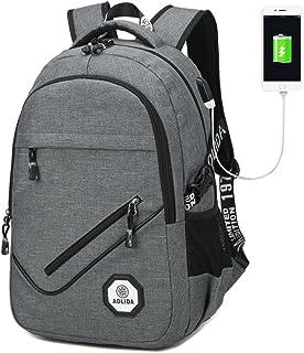 """Sac à Dos Ordinateur Portable avec USB Ports, Sac a Dos Compartiment PC Portable 15.6""""  Imperméable,  Multifonctio Anti-theft Sac à Dos affaires pour Loisirs / Travail / Scolaire - Gris"""