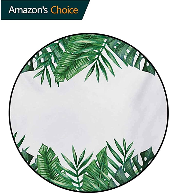 RUGSMAT Palm Leaf Modern Washable Round Bath Mat Framework With Rainforest Foliage Leaves In Watercolors Non Slip Bathroom Soft Floor Mat Home Decor Diameter 59 Inch Hunter Green Forest Green White