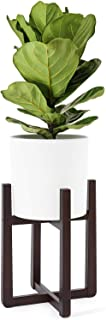 Mkono Planter Stand Mid Century Wood Flower Pot Holder Indoor Tall Plant Stand Modern Home Decor, Up to 10 Inch Planter (Plant and Pot NOT Included), Dark Brown