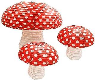 3Pcs Large Mushroom Shaped Paper Lanterns for Forest Jungle Wonderland Theme Birthday Party Decor Hanging 3D Mushroom Orna...