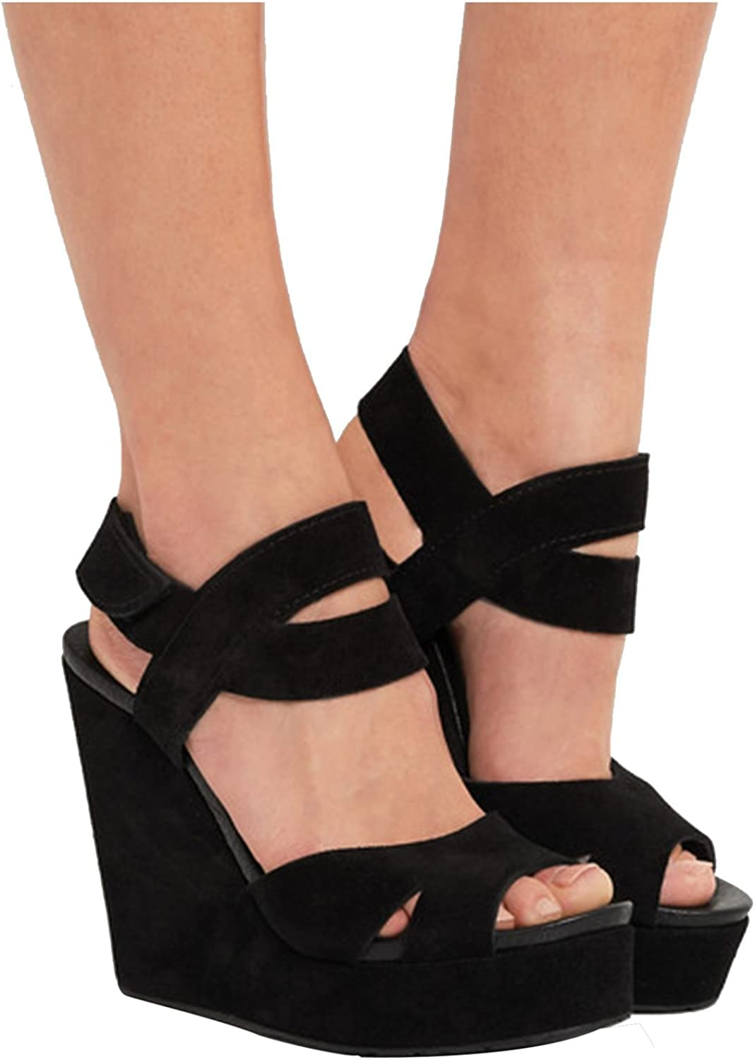 Kevin Fashion KLSDN208 Women's Wedge High Heel Suede Club Party Evening Sandals