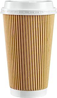 [50 مجموعة - 473.59 مل] أكواب قهوة ساخنة من ورق مموج معزول مع أغطية