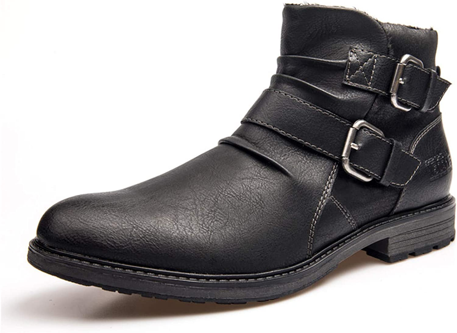 Big Size 40-48 Ankle Boots Men Buckle Waterproof Black Winter shoes Motorcycle Boots XHY12501BL