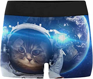 INTERESTPRINT Custom Men's All-Over Print Boxer Briefs Beautiful Cat in Outer Space (XS-3XL)