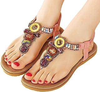 5c774c51f89e5 INNICON Women s T-Strap Beaded Dress Sandals Bohemian Thong Flat Glitter  Slip On Flip Flop
