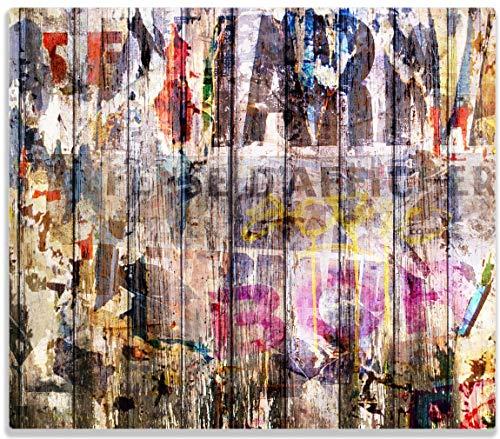 Herdabdeckplatte / Spitzschutz aus Glas, 1-teilig, 60x52cm, für Ceran- und Induktionsherde, Bemalte Holzplanken mit alter Schrift