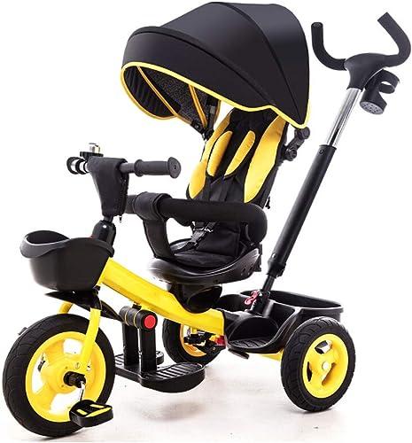 NBgy Triciclo, Triciclo Multifuncional 4 En 1 con Asiento Giratorio, Diseño De Asiento Bidireccional, Triciclo Exterior para Bebé, amarillo, (80-84) X87x59cm