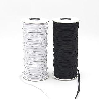 Cinta elástica plana de 10 m, color negro y blanco 3mm x