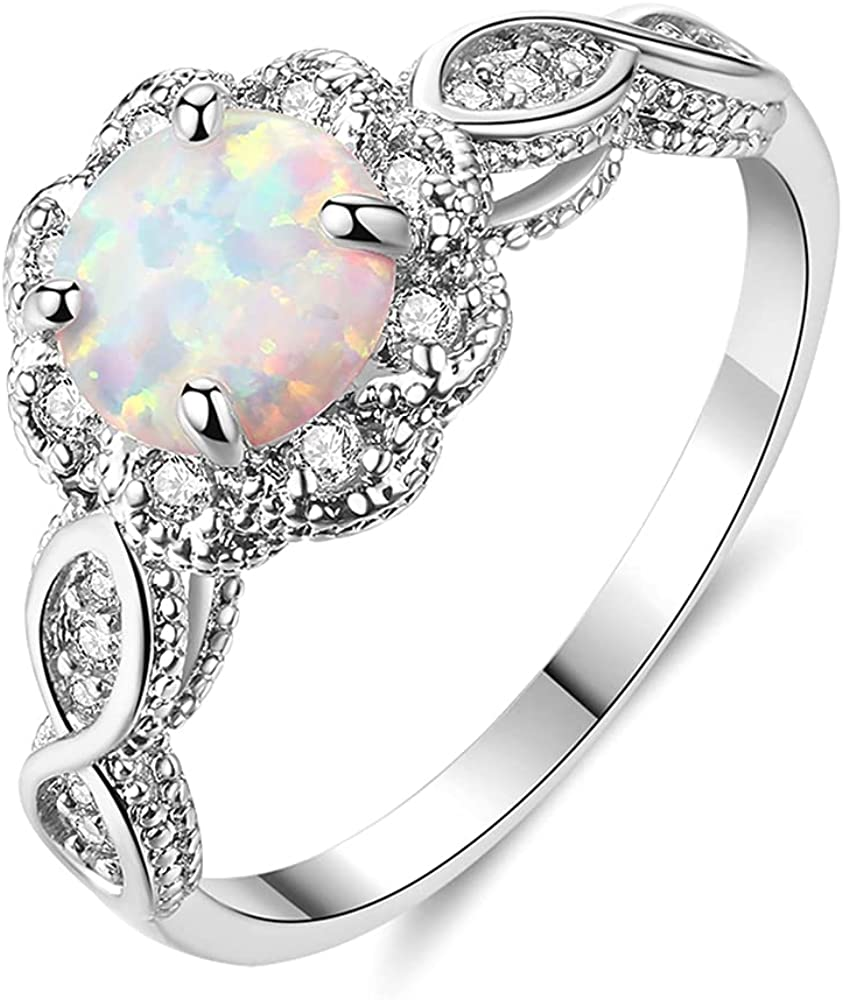 Fashion CiNily 18K Gold Plated Opal White Sale Special Price C Ring- Amethyst Fire