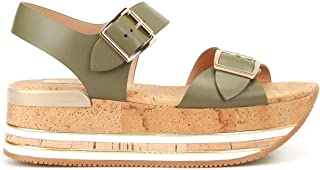 Luxury Fashion | Hogan Women HXW3540AA40KLAV616 Green Leather Sandals | Autumn-winter 19