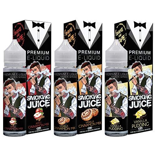 Smoking Juice Apple Cinnamon Mix + Vanilla Cinnamon Mix + Vanilla Pudding Premium E Liquid 50 ml - Shake and Vape für E Zigarette - E Liquids ohne Nikotin