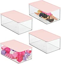 mDesign Playroom Stackable Plastic Storage Box with Lid for Organizing Baby/Child's/Kids Toys, Action Figures, Crayons, Ma...
