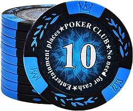 Uego de póker de casino de lujo Chips de 50 piezas de fichas de póquer sala de ajedrez y tarjeta de Mahjong Fichas Clay Multi-color opcional 10 Yuan [50 Piezas] ( Color : Azul , tamaño : Un tamaño )