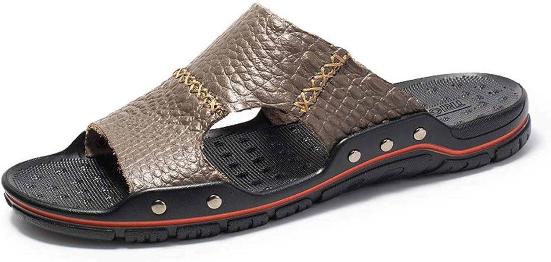 ANNFENG Fashion Summer Elegant Beach Slippers For Men Sandal Casual Slip On Style Microfiber Leather Crocodile Texture Rivet Reinforcement (color   Light Brown, Size   7 UK)