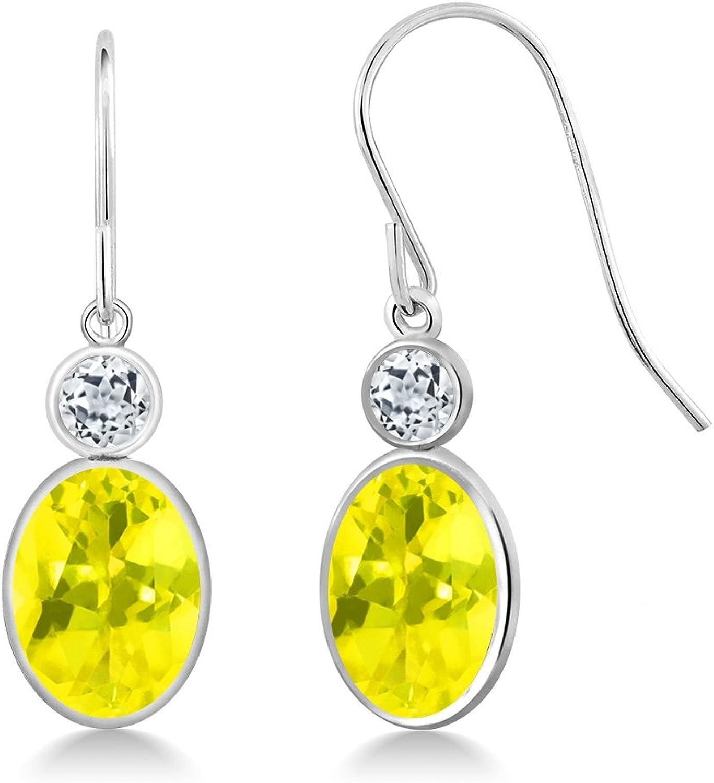 3.48 Ct Oval Canary Mystic Topaz White Topaz 14K White gold Earrings