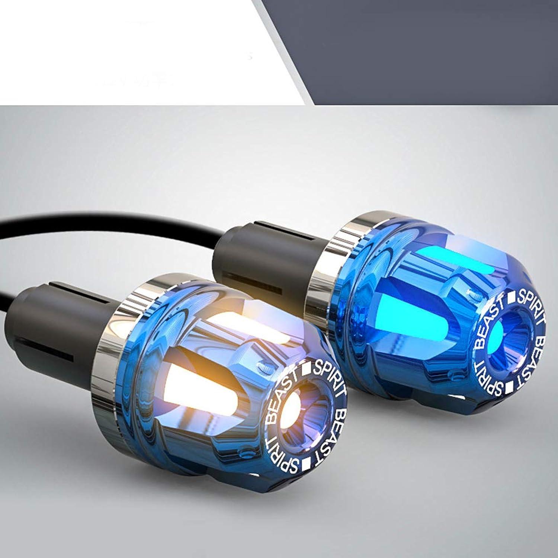 ACHICOO オートバイ ハンドルバーエンド ledライト付き 三色照明 CNC アルミニウム合金 グリップエンド アクセサリー ハンドルバー バランスヘッド ハンドル装飾 モトクロス グリップ モーター保護 かっこいい クール スタイル5